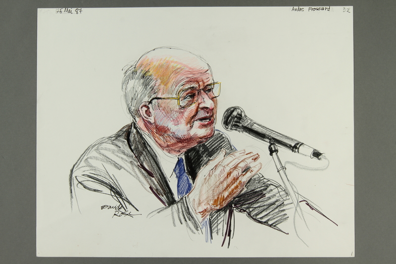 1992.21.31.1 front Courtroom drawing of the Klaus Barbie trial