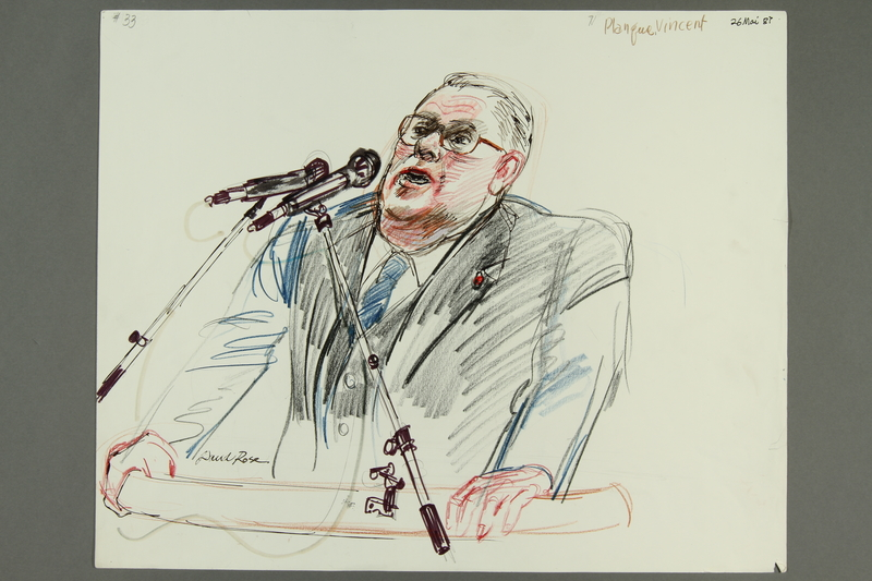 1992.21.32.1-.2 front Courtroom drawing of the Klaus Barbie trial