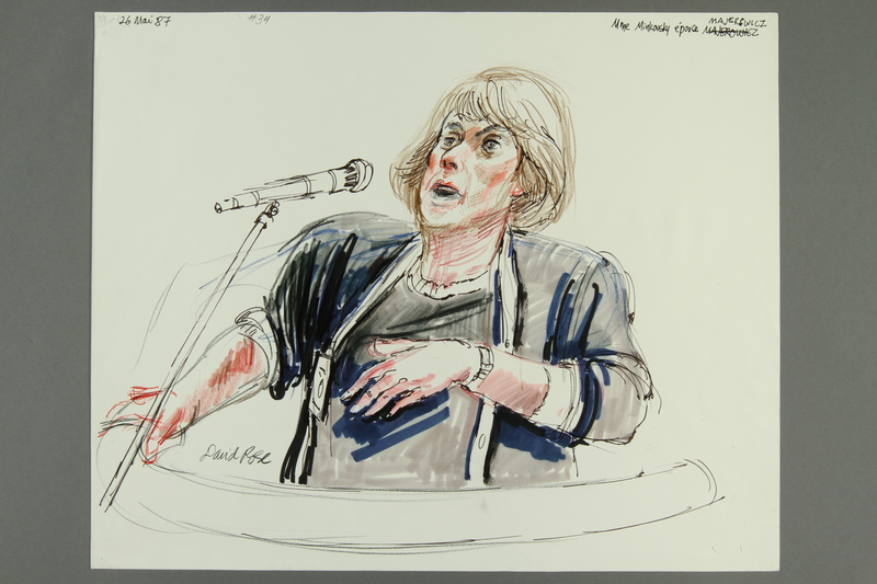 1992.21.33 front Courtroom drawing of the Klaus Barbie trial