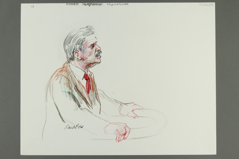 1992.21.35 front Courtroom drawing of the Klaus Barbie trial