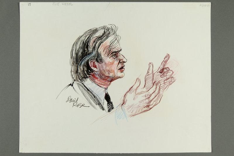 1992.21.36 front Courtroom drawing of the Klaus Barbie trial