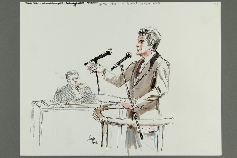 1992.21.38 front Courtroom drawing of the Klaus Barbie trial