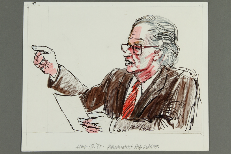 1992.21.39 front Courtroom drawing of the Klaus Barbie trial