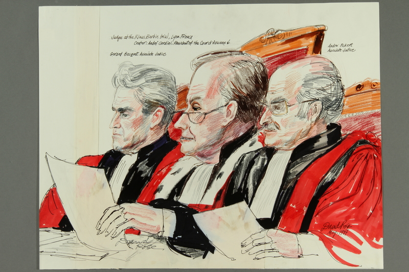 1992.21.4 front Courtroom drawing of the Klaus Barbie trial