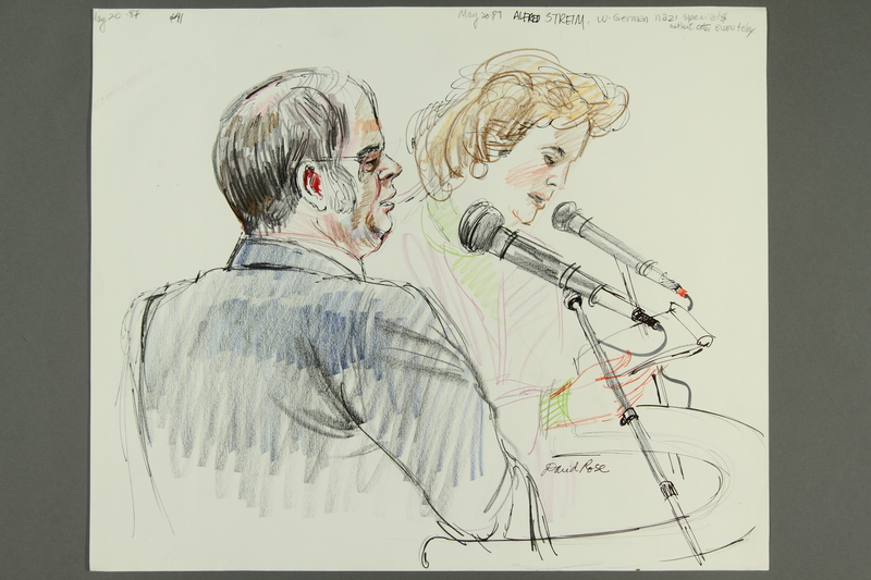 1992.21.40 front Courtroom drawing of the Klaus Barbie trial