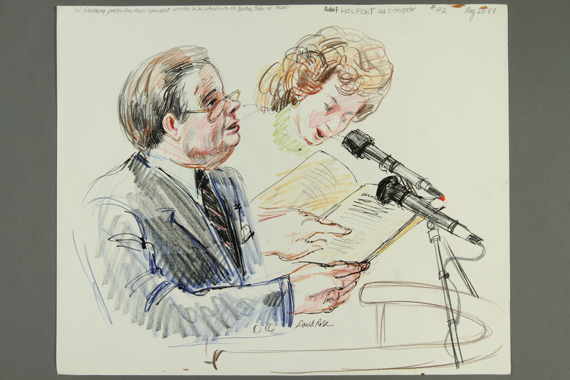 1992.21.41 front Courtroom drawing of the Klaus Barbie trial