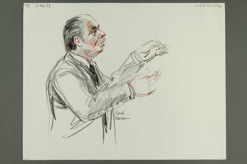1992.21.42 front Courtroom drawing of the Klaus Barbie trial