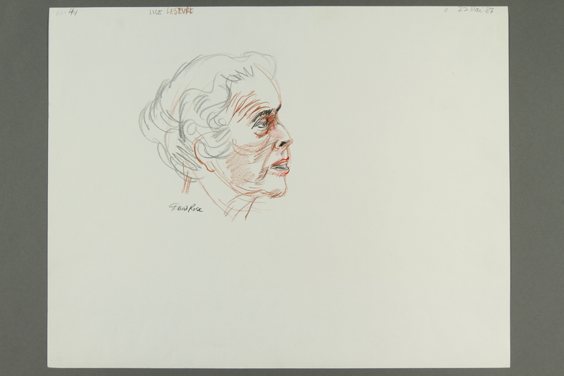 1992.21.43.1-.3 front Courtroom drawing of the Klaus Barbie trial