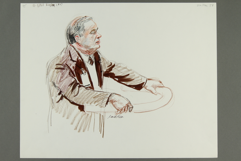 1992.21.44 front Courtroom drawing of the Klaus Barbie trial
