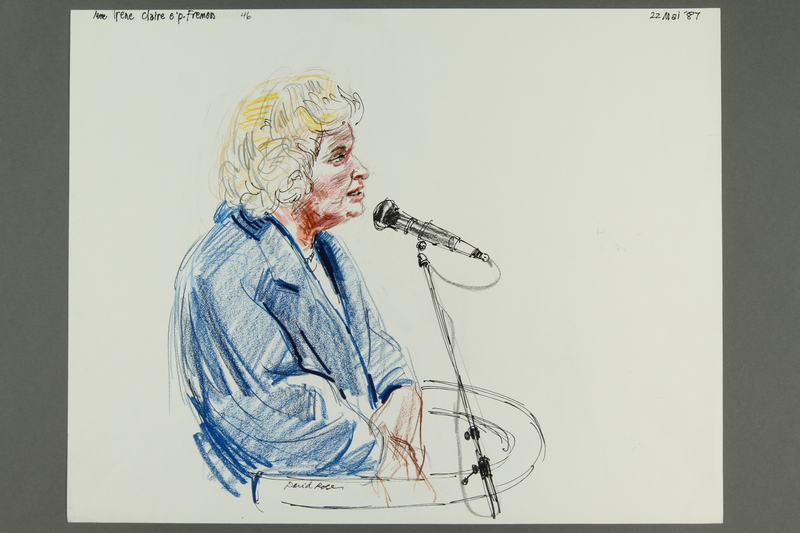 1992.21.45 front Courtroom drawing of the Klaus Barbie trial