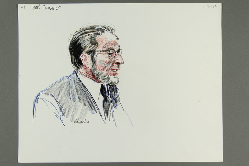 1992.21.46 front Courtroom drawing of the Klaus Barbie trial