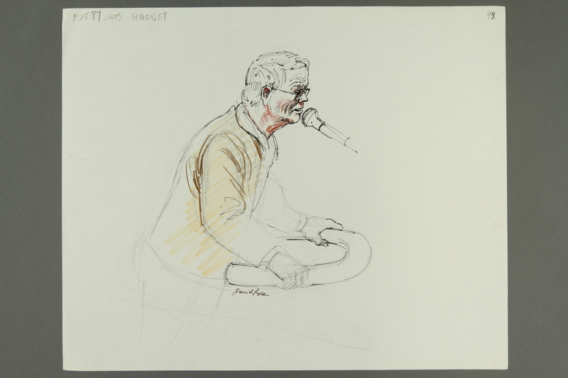 1992.21.47 front Courtroom drawing of the Klaus Barbie trial