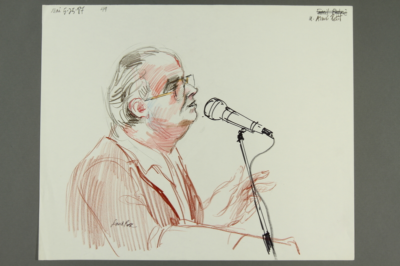 1992.21.48 front Courtroom drawing of the Klaus Barbie trial