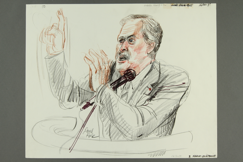 1992.21.49.1-.2 front Courtroom drawing of the Klaus Barbie trial