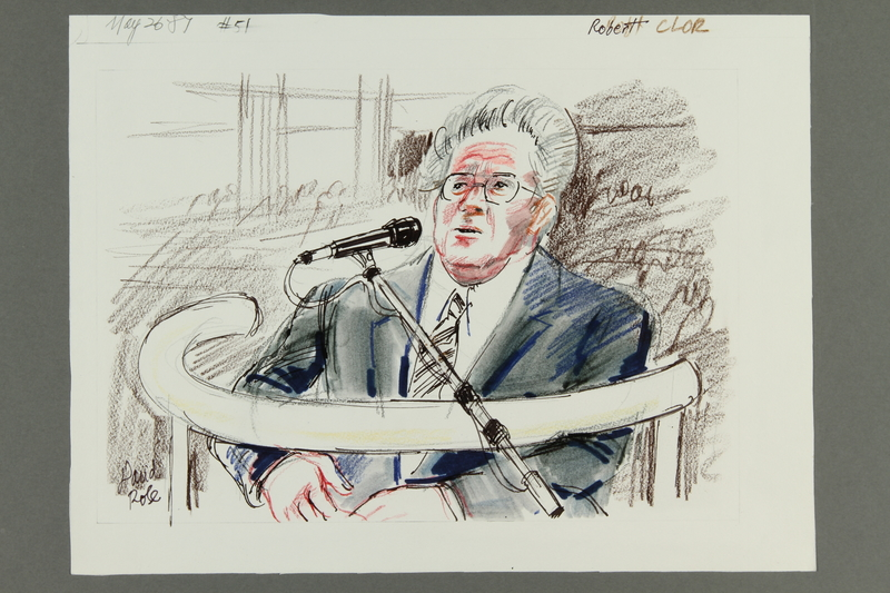 1992.21.50 front Courtroom drawing of the Klaus Barbie trial