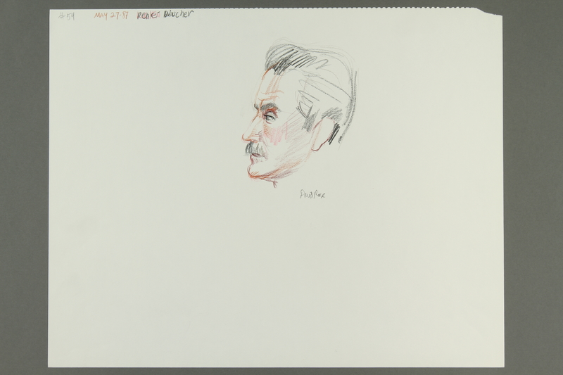 1992.21.53 front Courtroom drawing of the Klaus Barbie trial
