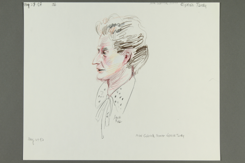 1992.21.55 front Courtroom drawing of the Klaus Barbie trial