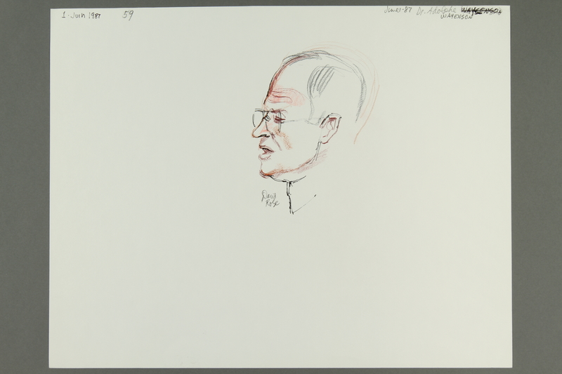 1992.21.58 front Courtroom drawing of the Klaus Barbie trial