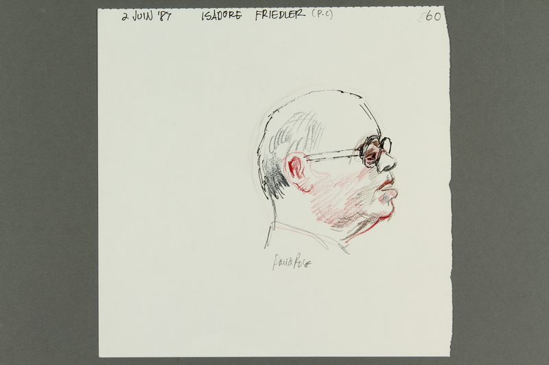 1992.21.59 front Courtroom drawing of the Klaus Barbie trial