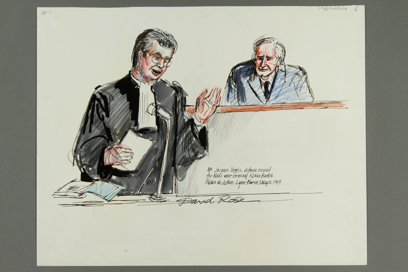 1992.21.6 front Courtroom drawing of the Klaus Barbie trial