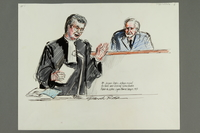 1992.21.6 front Courtroom drawing of the Klaus Barbie trial  Click to enlarge