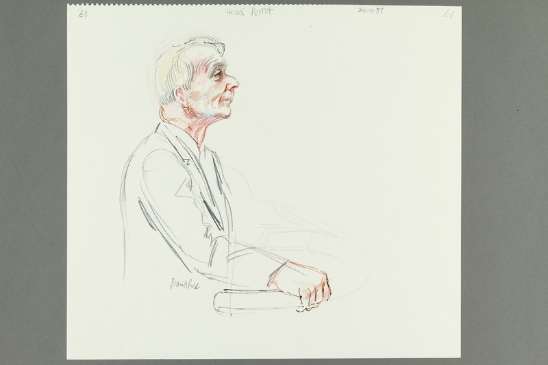 1992.21.60 front Courtroom drawing of the Klaus Barbie trial