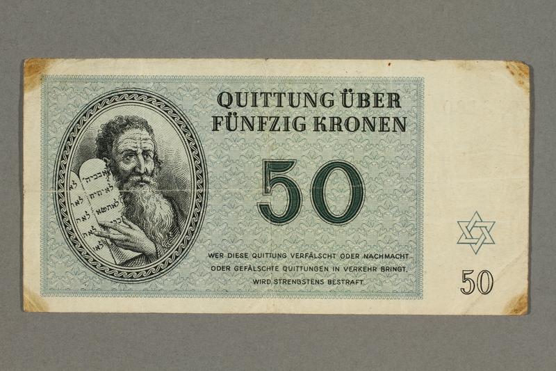 2018.427.2 front Theresienstadt ghetto-labor camp scrip, 50 kronen note, given to German Jewish prisoner