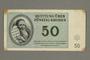 Theresienstadt ghetto-labor camp scrip, 50 kronen note, given to German Jewish prisoner