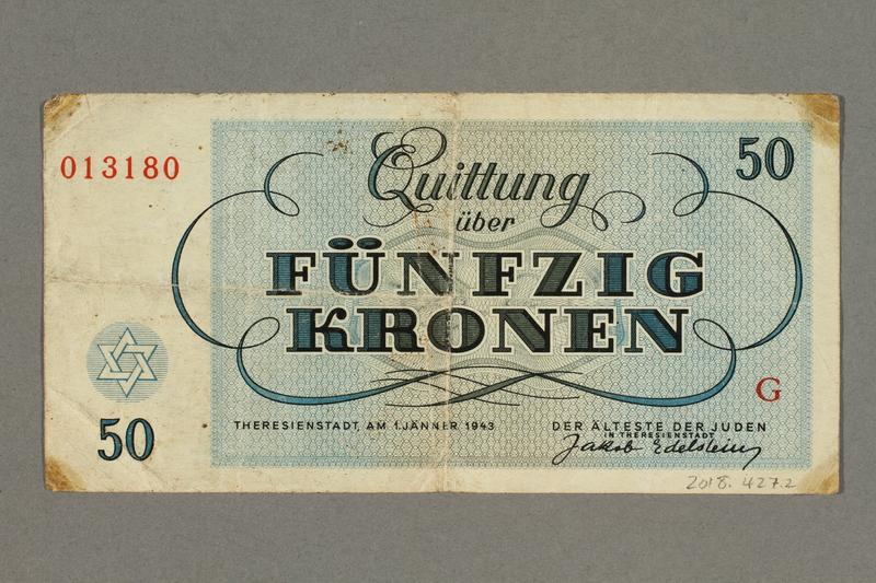2018.427.2 back Theresienstadt ghetto-labor camp scrip, 50 kronen note, given to German Jewish prisoner