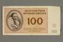 Theresienstadt ghetto-labor camp scrip, 100 kronen note, given to German Jewish prisoner