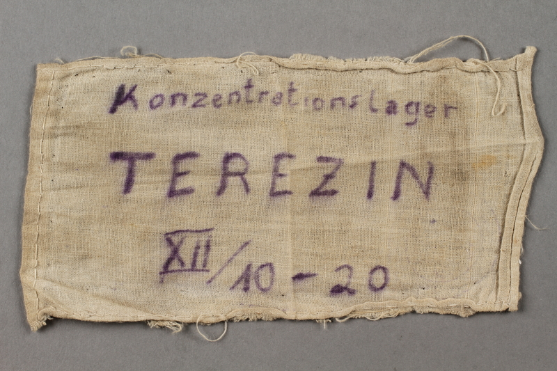 2018.427.6 front Theresienstadt armband with prisoner number worn by a liberated German Jewish prisoner