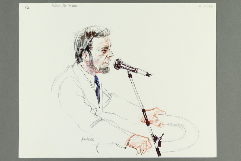 1992.21.61 front Courtroom drawing of the Klaus Barbie trial
