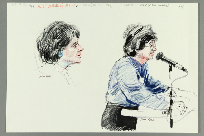 1992.21.62 front Courtroom drawing of the Klaus Barbie trial