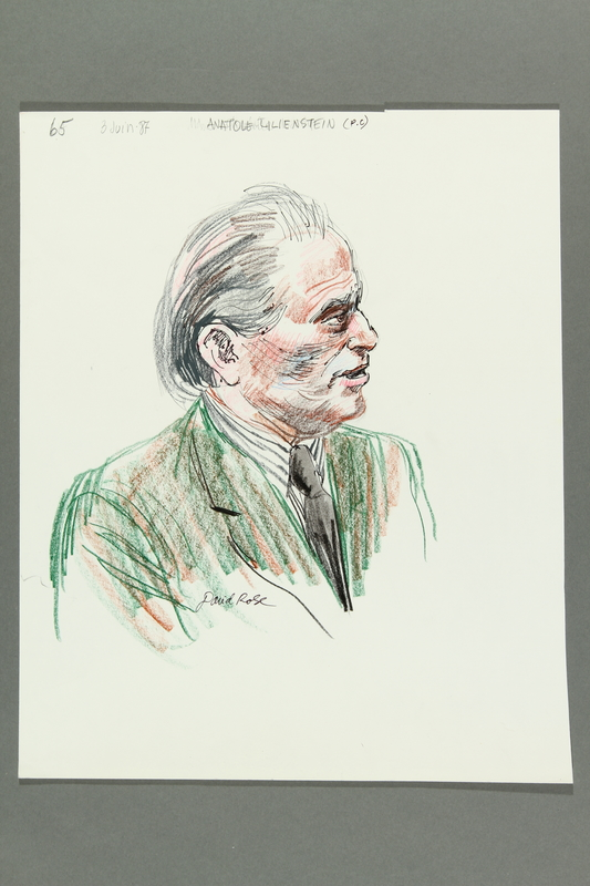 1992.21.63 front Courtroom drawing of the Klaus Barbie trial