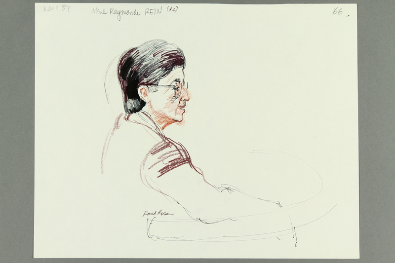 1992.21.64 front Courtroom drawing of the Klaus Barbie trial