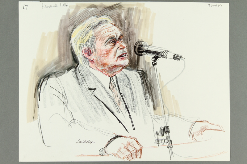 1992.21.65 front Courtroom drawing of the Klaus Barbie trial