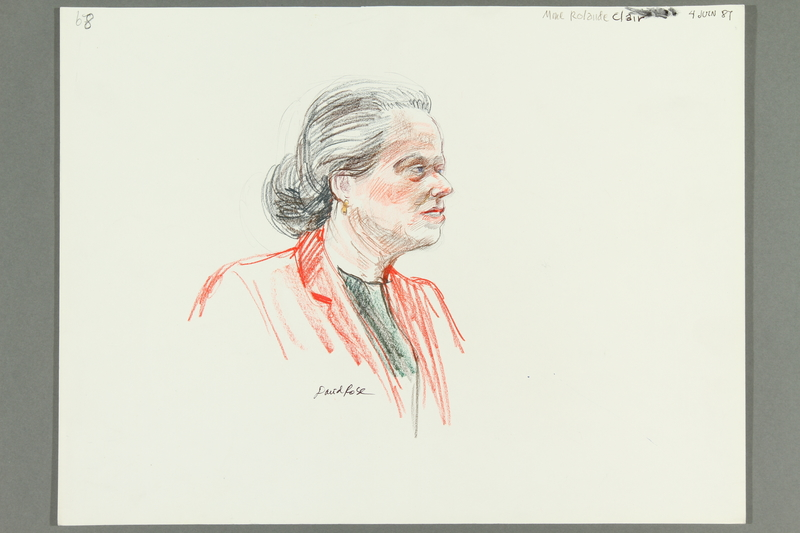 1992.21.66 front Courtroom drawing of the Klaus Barbie trial