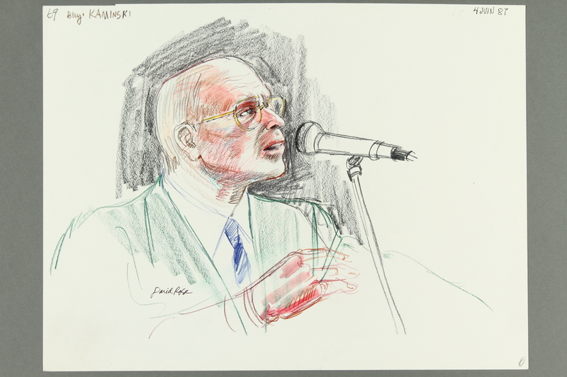 1992.21.67 front Courtroom drawing of the Klaus Barbie trial