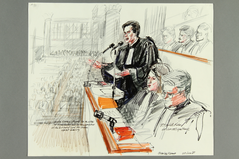 1992.21.68 front Courtroom drawing of the Klaus Barbie trial