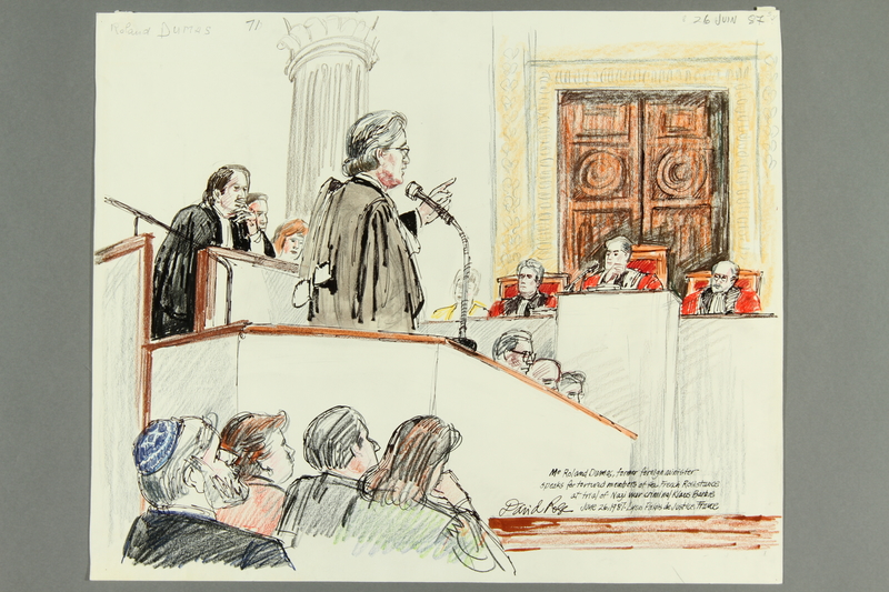 1992.21.69.1-.4 front Courtroom drawing of the Klaus Barbie trial