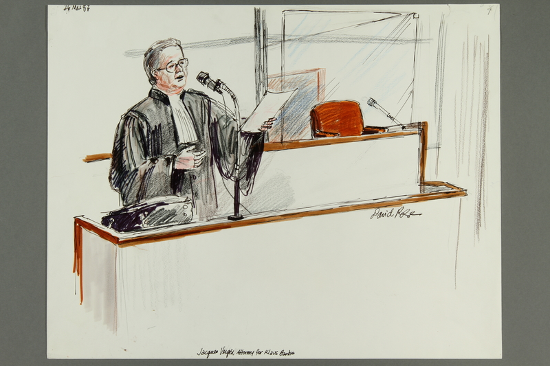1992.21.7 front Courtroom drawing of the Klaus Barbie trial