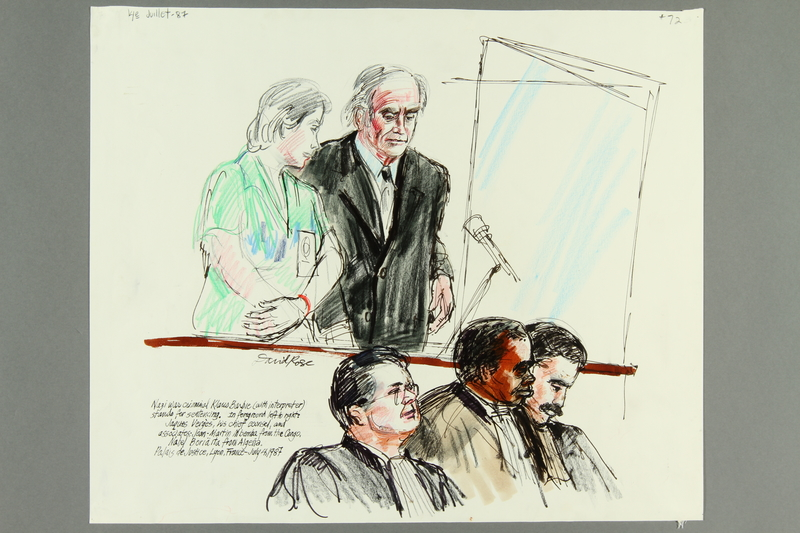 1992.21.70 front Courtroom drawing of the Klaus Barbie trial