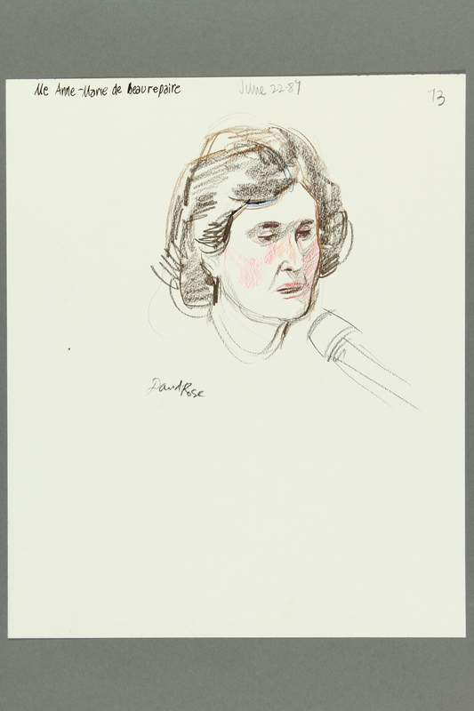 1992.21.71 front Courtroom drawing of the Klaus Barbie trial