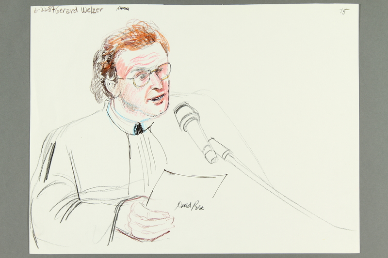 1992.21.73 front Courtroom drawing of the Klaus Barbie trial