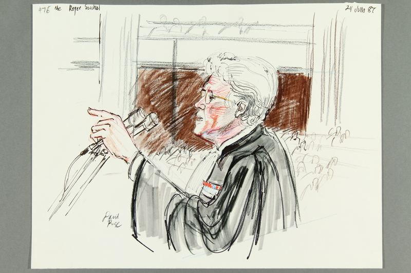1992.21.74 front Courtroom drawing of the Klaus Barbie trial