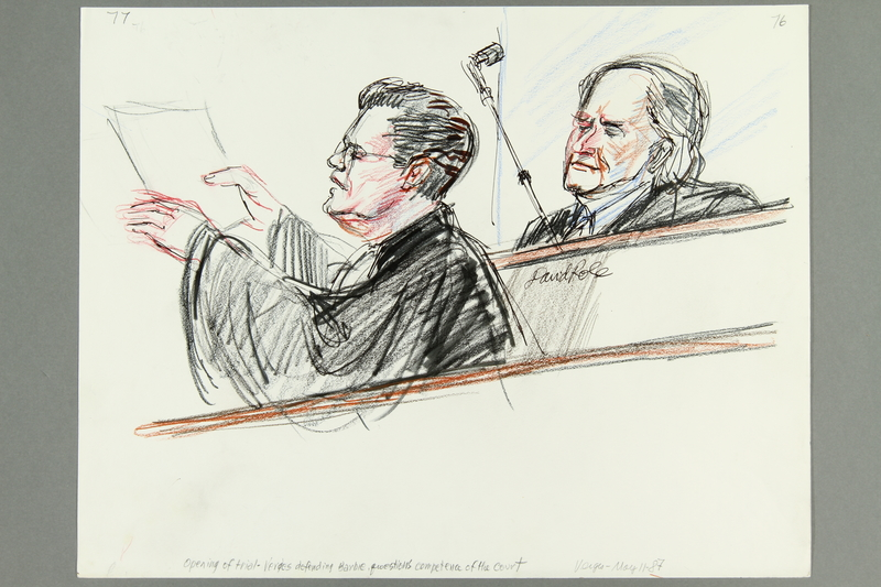 1992.21.75 front Courtroom drawing of the Klaus Barbie trial