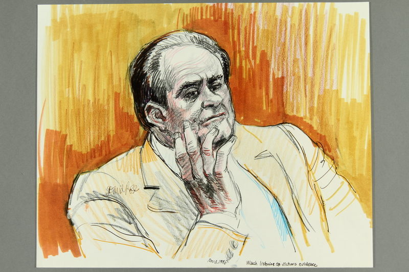1992.21.77.1-.5 front Courtroom drawing of the Klaus Barbie trial
