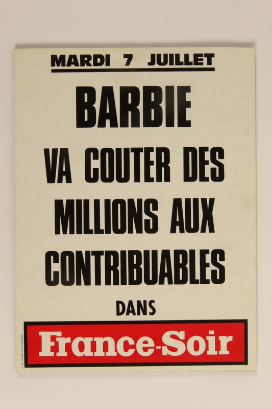 1992.21.79 front News bulletin about the Klaus Barbie trial
