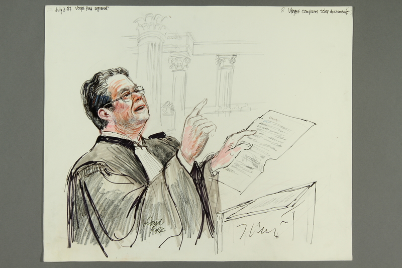1992.21.8 front Courtroom drawing of the Klaus Barbie trial