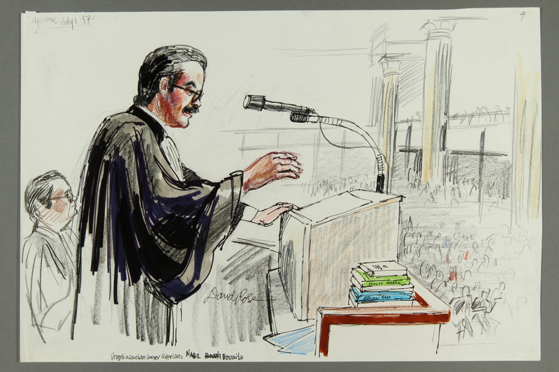 1992.21.9 front Courtroom drawing of the Klaus Barbie trial